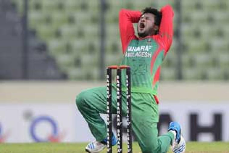 Shakib Al Hasan took 3 wickets for 27 runs to rattle the Indian middle-order.