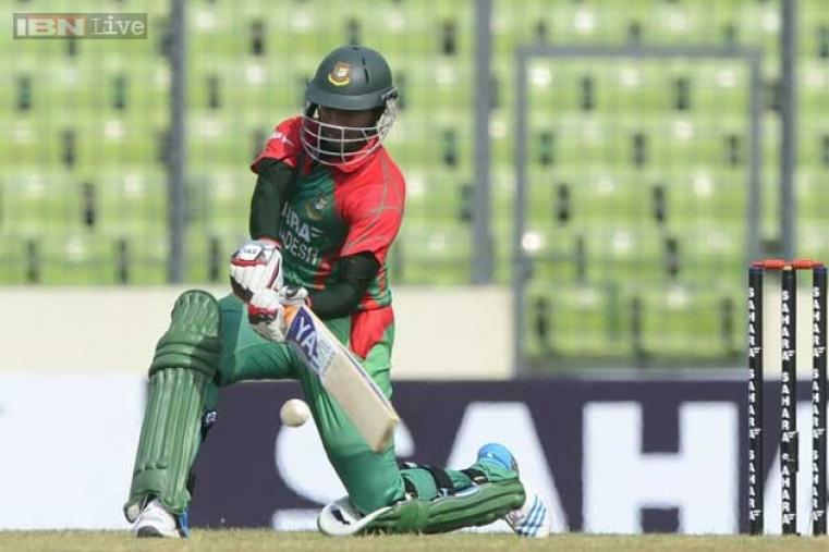 Bangladeshi cricketer Shakib Al Hasan in action during his solid knock against India.
