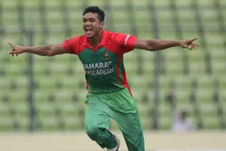 Taskin Ahmed claimed a five-wicket haul as Bangladesh bowled India out for 105 runs in a rain-marred 41-over match.