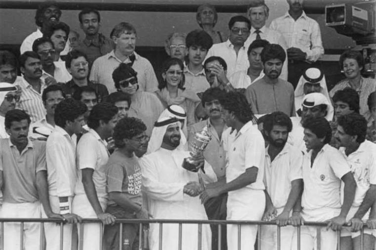 Rothmans Asia Cup 1984 Final: India v Pakistan at Sharjah India won by 54 runs (Image Credit: Asian Cricket Council)