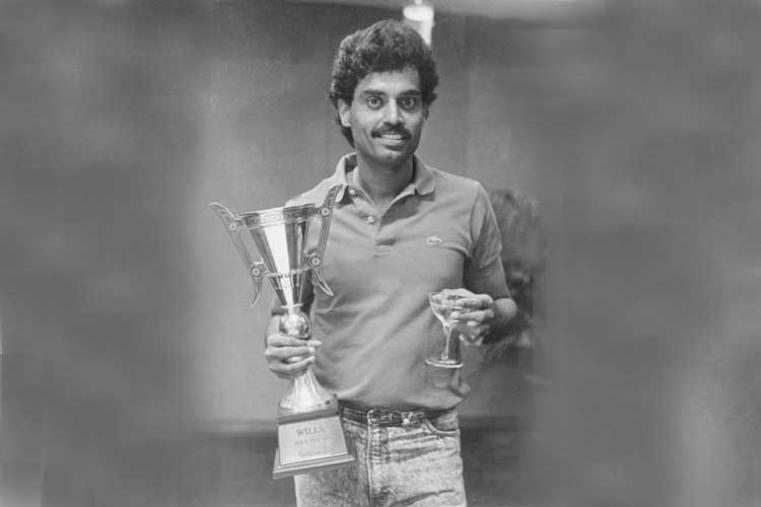 Wills Asia Cup 1988 Final: India v Sri Lanka in Dhaka India won by 6 wickets (In pic: Former India captain Dilip Vengsarkar with the winning trophy) (Image Credit: Asian Cricket Council)