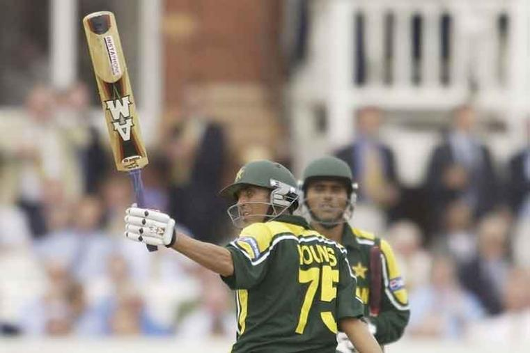 Younis Khan scored 144 off 122 balls vs Hong Kong in Colombo in 2004. Pakistan won by 173 runs (D/L method). (AFP Photo)