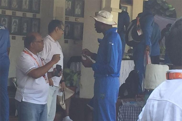 West Indies bowling coach Curtly Ambrose in conversation during the West Indies training session.