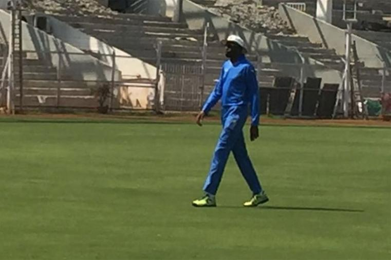 West Indies bowling coach Curtly Ambrose at training session in Wankhede.