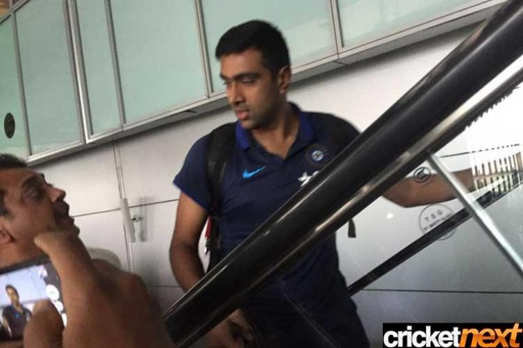 India spinner Ravichandran Ashwin is at the Kolkata airport.