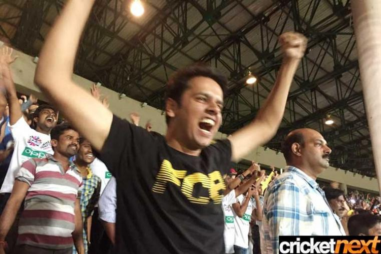 Fans celebrate after India beat Bangladesh in a thrilling contest. (Getty Images)
