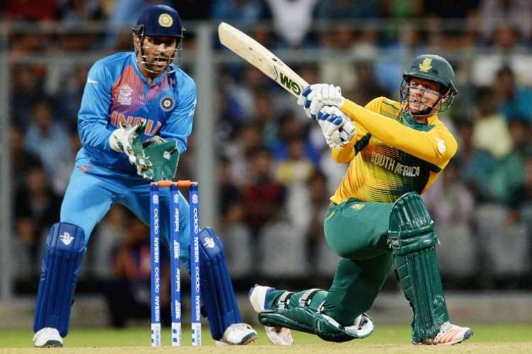Quinton de Kock scored a magnificent 56 off 33 balls to guide South Africa to a mammoth 196/8 against India. (Getty Images)