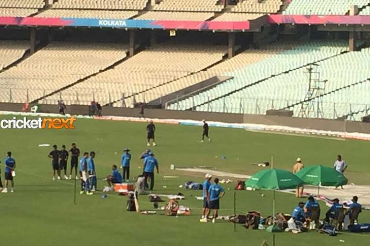 Team India were seen warming up ahead of the India vs Pakistan showdown.