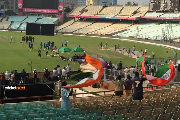 Fans spotted waving the national flag as Team India were warming up.