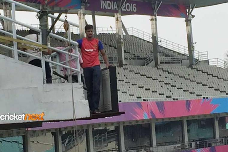 Ground staff at the Eden were seen doing the last minute arrangements for the India Pakistan match.