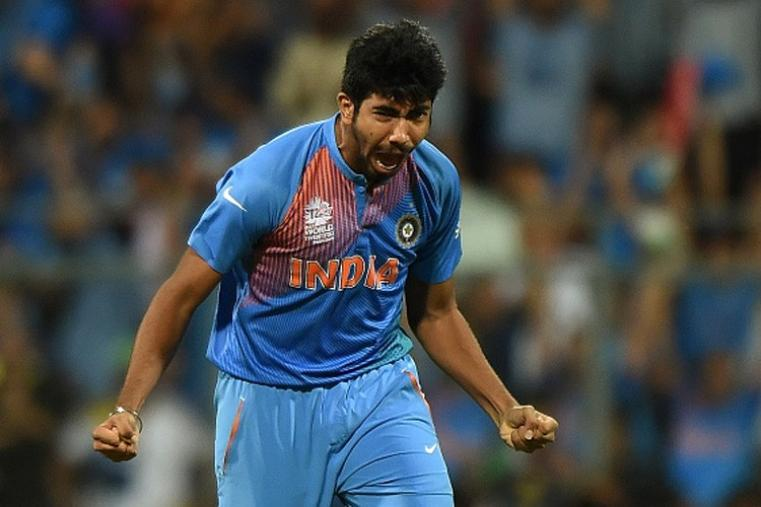 Jasprit Bumrah looks ecstatic after dismissing Gayle cheaply.  (Getty Images)