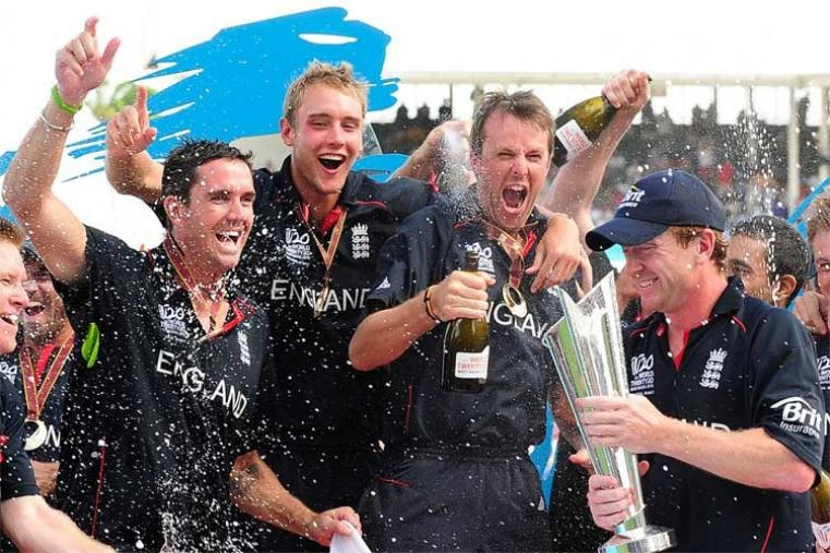 2010: Paul Collingwood-led England defeated Australia by seven wickets and lifted their first trophy in an ICC event. (AFP Photo)