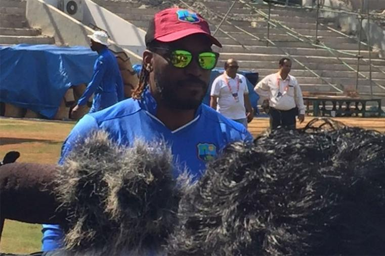 Chris Gayle took some time out for journalists during training session.