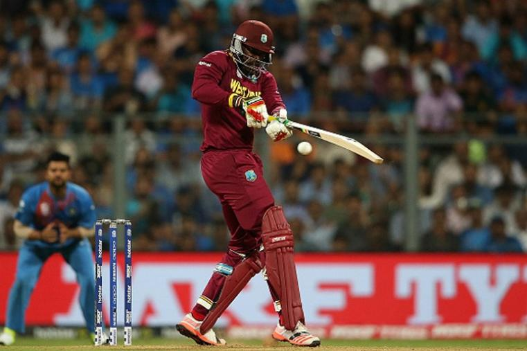 The danger-man for India, Chris Gayle, failed to make much contribution from the bat and dismissed for just five runs. (Getty Images)