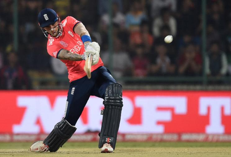 Alex Hales scored 20 runs and gave England a flying start before falling to Mitchell Santner. (Getty Images)