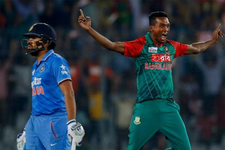 Al-Amin Hossain celebrates after dismissing Rohit Sharma for 1 run. (AP Photo)
