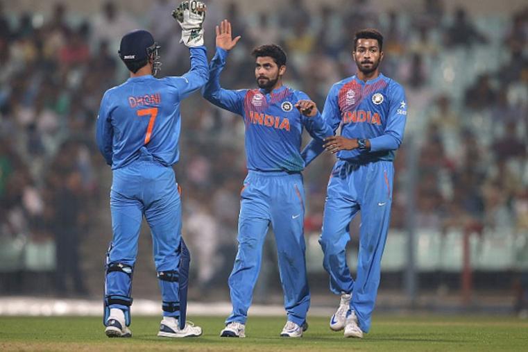 Ravindra Jadeja celebrates after picking up wicket of West Indies batsman.
