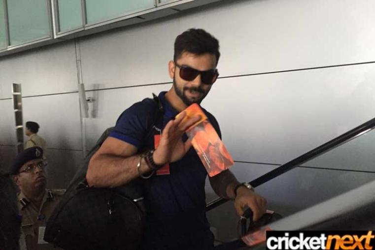Virat Kohli, who anchored a tricky chase to enable India humble arch-rivals Pakistan by six wickets in a rain-curtailed World Twenty 20 tie at the Eden Gardens, is at the Kolkata airport. India will now travel to Bangalore where they will face Bangladesh in their third World T20 match on March 23.