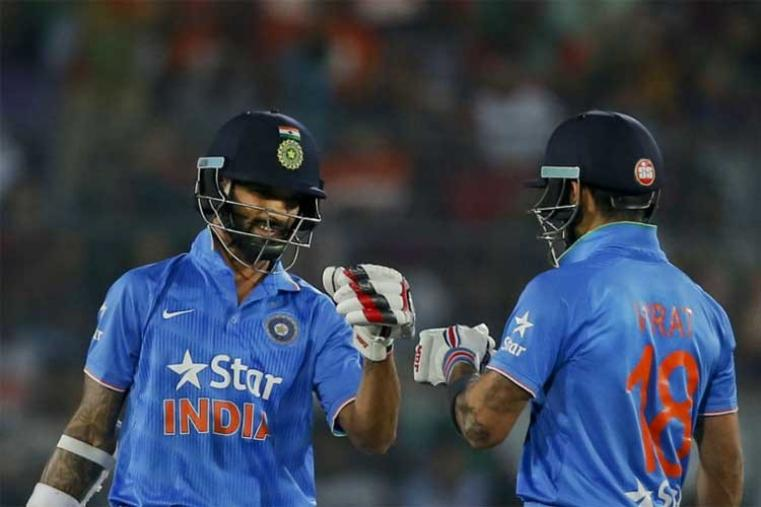 Delhi lads Shikhar Dhawan and Virat Kohli led the charge with a 94-run partnership as India overhauled the 121-run target in 13.5 overs. (Getty Images)