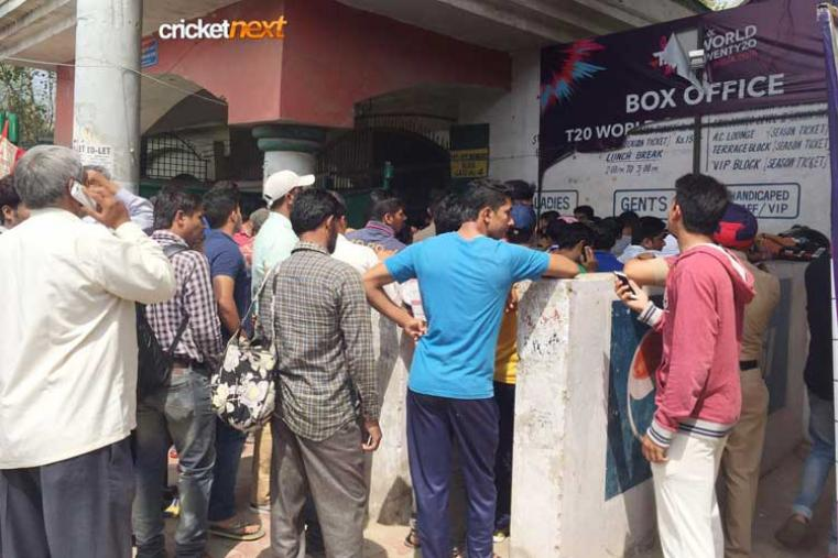 Long queue outside the stadium just to get a ticket for the virtual quarter-final between Australia and India.