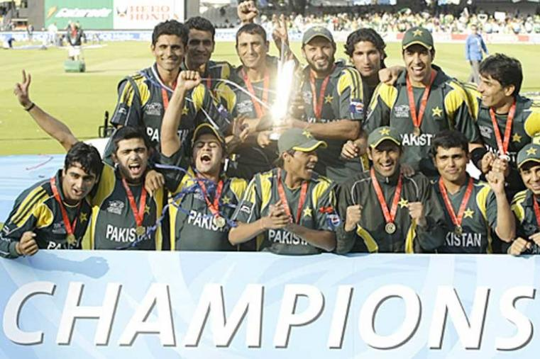 2009: The 2007 runners-up Pakistan, led by Younis Khan, defeated Sri Lanka by 8 wickets in the final at Lord's to win the 2009 title. (AP Photo)
