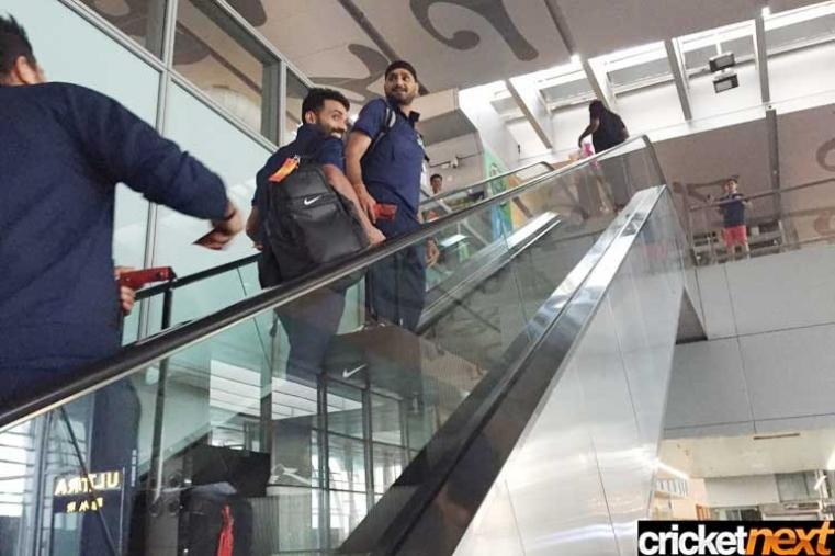 India cricketers Harbhajan Singh and Ajinkya Rahane are checking in at the Kolkata airport. India will travel to Bangalore where they will face Bangladesh in their third World T20 match on March 23.
