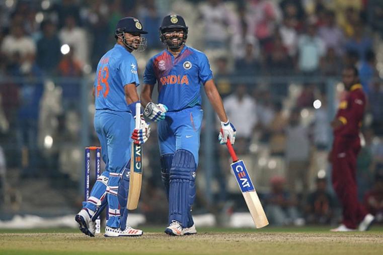 Rohit Sharma and Suresh Raina shares a joke during their partnership.