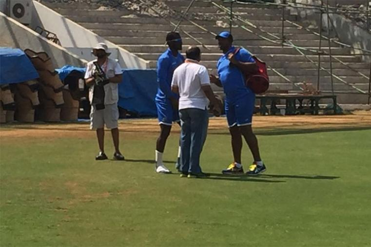 West Indies coach Phil Simmons and captain Darren Sammy during training session.