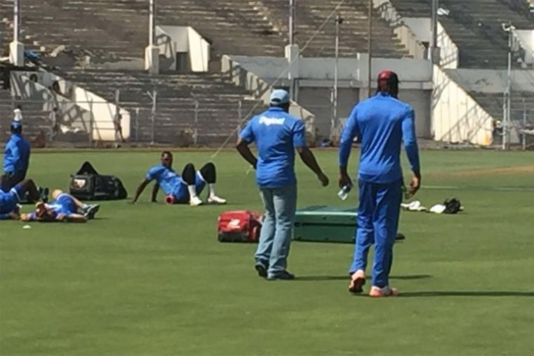 West Indies player giving their all during the training session.