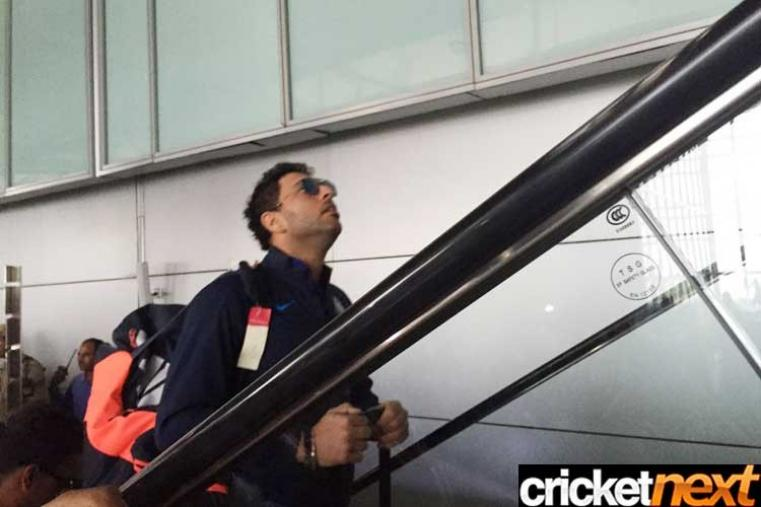 India cricketer Yuvraj Singh, who scored a crucial 24 off 23 balls against Pakistan at the Eden Gardens on Saturday, is at the Kolkata airport.