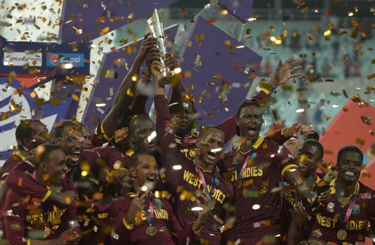 West Indies team celebrating with the ICC World Twenty20 2016 trophy after their win against England in a thrilling final. (Getty Images)