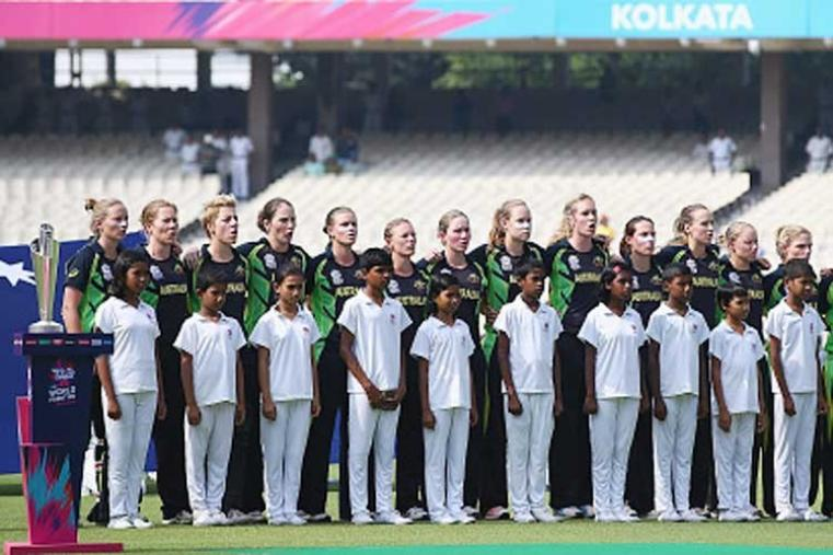 Australia Women team line up for national anthem ahead of the Women's ICC World Twenty20 final. (Getty Images)