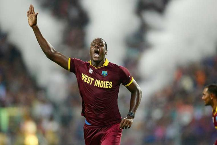 After West Indies skipper Darren Sammy won the toss and opted to field at the jam-packed Kolkata Stadium, Brathwaite delivered a brilliant spell, claiming three wickets conceding only 23 runs in his four-over spell at an economy of 5.75 and helped Windies limit England to 155. (Photo Credit: Getty Images)