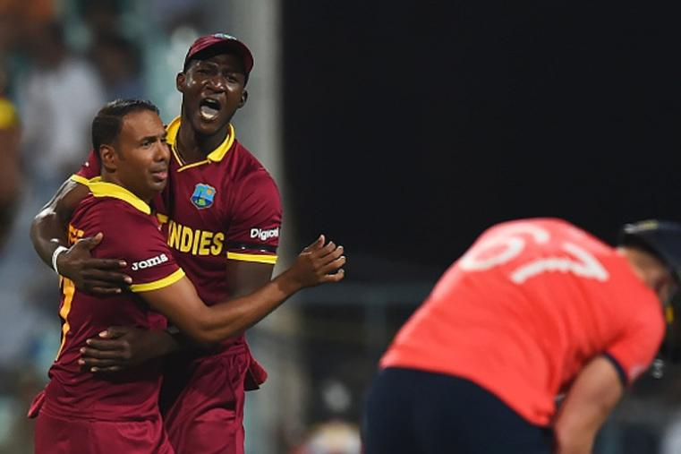 Samuel Badree dismissed Jason Roy for a duck and Eoin Morgan for 5 to give West Indies a good start in the final. (Getty Images)