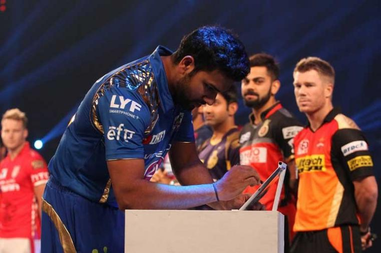 Mumbai Indians captain Rohit Sharma signs the MCC pledge. (BCCI)