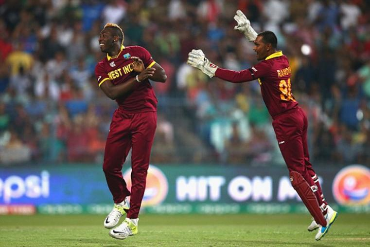 Andre Russell got rid of Alex Hales for just 1 as England's top order crumbled against WI bowlers. (Getty Images)