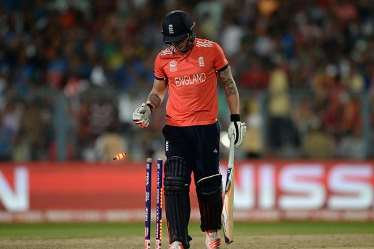 Jason Roy looks dejected after getting bowled for a duck on the second ball of the match. (Getty Images)