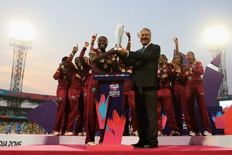 Victorious West Indies team presented with the Women's ICC World Twenty20 trophy by ICC President Zaheer Abbas. (Getty Images)