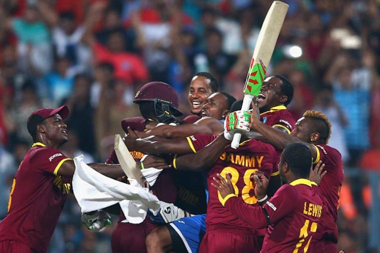 West Indies players celebrate after their team's four-wicket win over England in World T20 final. (Getty Images)