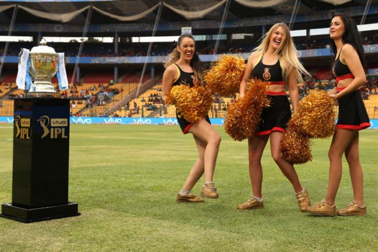 RCB cheerleaders posing with IPL 2016 trophy before the start of the final. (BCCI)