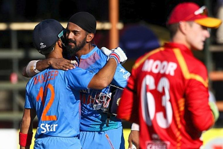 Mandeep Singh (52) and KL Rahul (47) (R) led the way with unbeaten knocks as the visitors chased down the target with 41 balls to spare. (Photo Credit: Getty Images)
