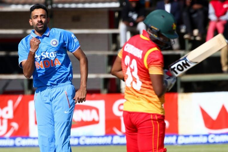 Indian pacers Barinder Sran (2/17) and Dhawal Kulkarni (2/31) performed their duties early on before leggie Chahal (3/25) joined the party to help India skittle Zimbabwe 126. (AFP Photo)