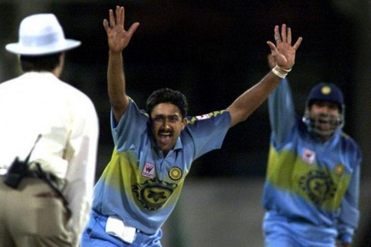 6/12 is one of the memorable spells by Anil Kumble. He claimed the figures against a Richi Richardon-led West Indies in the final of CAB Jubilee tournament for the Hero Cup in Chennai in 1993. Kumble was awarded the Man of the Match for his spectacular performance. (Getty Images)