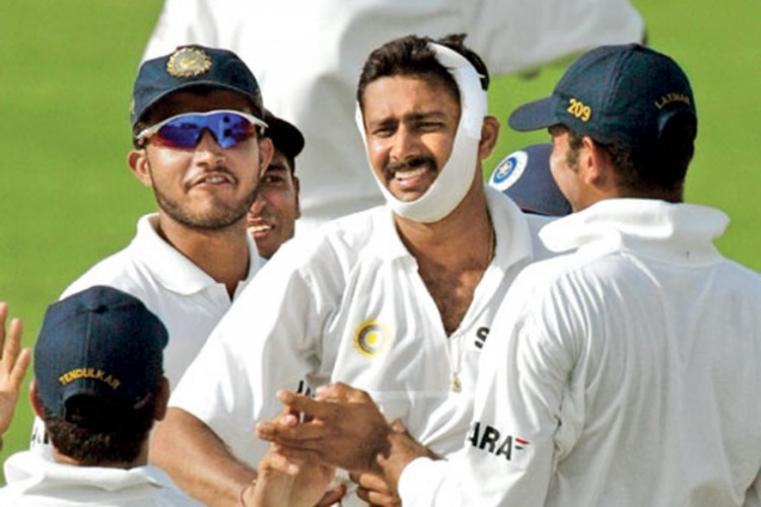 With a broken jaw and face bandaged, Kumble's spell against West Indies during the Antigua Test in 2002, will always be cricket's most inspiring moment. (Getty Images)