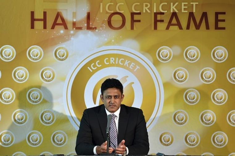 Anil Kumble became the 77th member of the ICC Cricket Hall of Fame after his name was inducted in the prestigious list during India's World Cup match against South Africa. Kumble is the fourth India cricketer to be inducted into the ICC Cricket Hall of Fame after fellow former captains Bishan Bedi, Kapil Dev and Sunil Gavaskar were inducted into the ICC Cricket Hall of Fame in 2009. (Getty Images)
