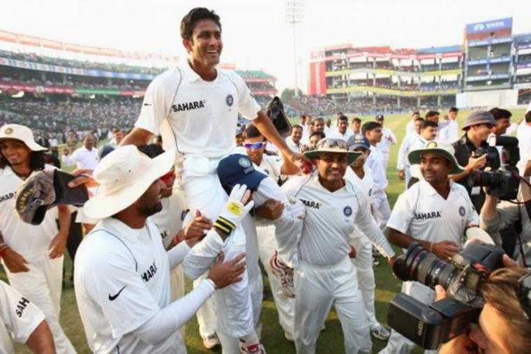Kumble announced his retirement from International cricket in 2008. He played his last Test against Australia in Delhi's Feroz Shah Kotla stadium and claimed Mitchell Johnson as his last Test match. He claimed three wickets in the drawn Test. (Getty Images)