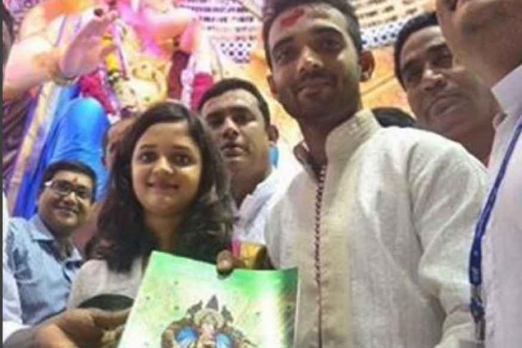 Ajinkya Rahane visited Lal Bacha Raja on the occasion of Ganesh Chaturthi with his family members.