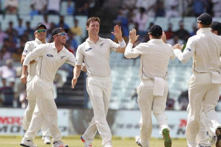 Matt Henry of New Zealand celebrates the wicket of Shikhar Dhawan. (BCCI Image)
