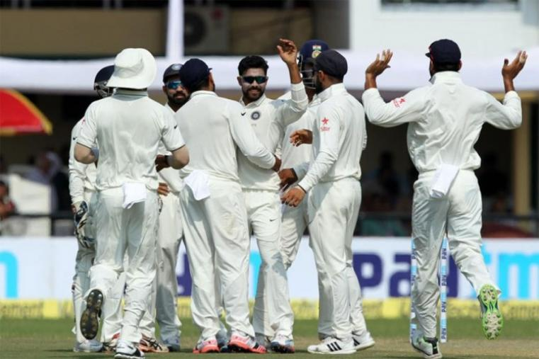 Ravindra Jadeja of India celebrates wicket of Ross Taylor of New Zealand early on Day 3. (BCCI Images)