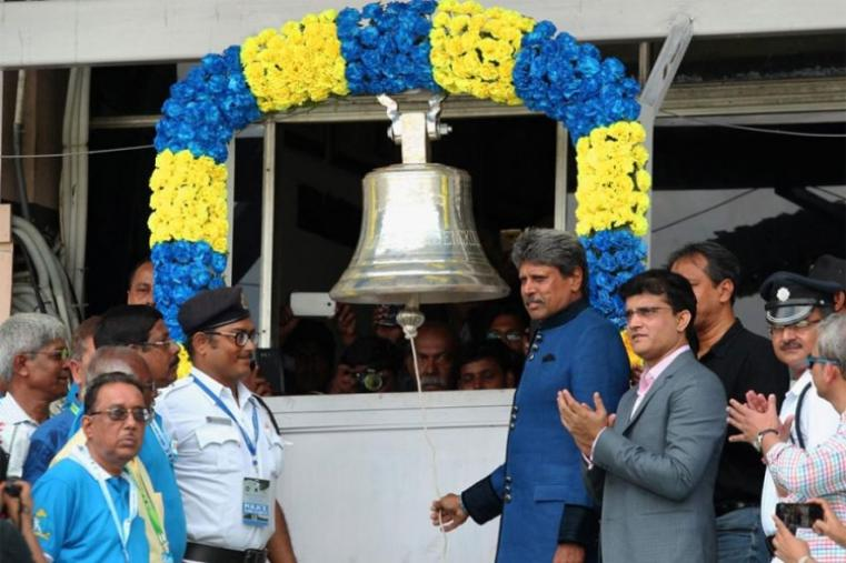Kapil Dev ringing the bell at Eden Gardens ahead of the second Test. (BCCI Image)